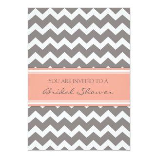 """Peach Gray Chevron Bridal Shower Invitation Cards 5"""" X 7"""" Invitation Card"""