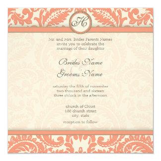 PEACH Gray Victorian Damask  Wedding Invitations