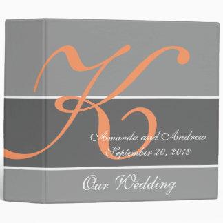 Peach, Gray Wedding Planner Keepsake 3 Ring Binder