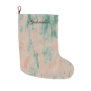 Christmas Themed Peach Green Abstract Personalized Large Christmas Stocking