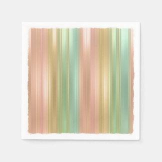 Peach Green Gold Colored Stripes Paper Napkin
