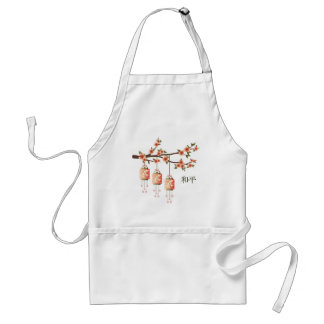 """Peach green lanterns and blossom """"Peace"""" Adult Apron"""