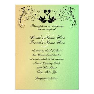 Peach Green Lovebirds Wedding Invitation