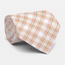 Peach green plaid pattern tie