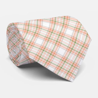 Peach green plaid pattern tie