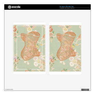 Peach Green Steampunk Floral Corset Victorian Kindle Fire Decal
