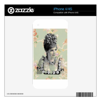 Peach Green Steampunk Floral Woman Victorian iPhone 4S Decal