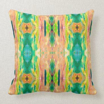 Aztec Themed Peach green tribal Aztec girly mandala pattern Throw Pillow
