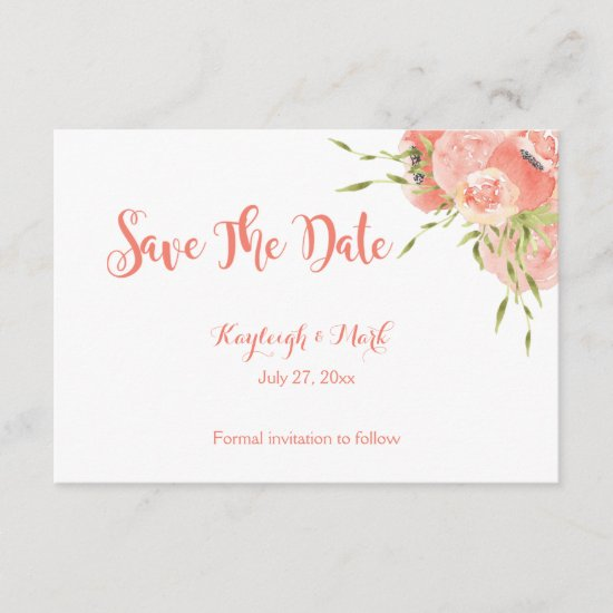 Peach Green Watercolor Flowers Save the Date