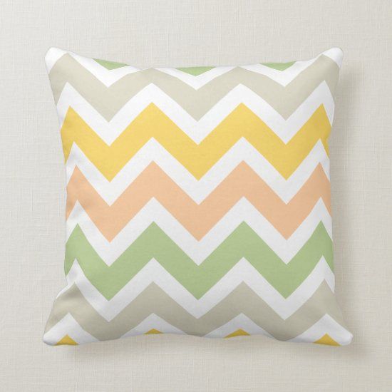 Peach Green Yellow White Zigzag Chevron Pattern Throw Pillow