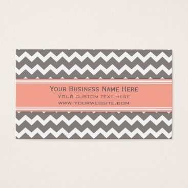 Professional Business Peach Grey Chevron Retro Business Cards