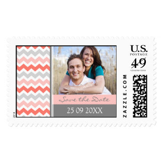 Peach Grey Chevron Save the Date Wedding Stamps