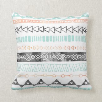 Peach Grey Sky Blue Watercolor Tribal Pillow