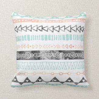 Peach Grey Sky Blue Watercolor Tribal Pillow