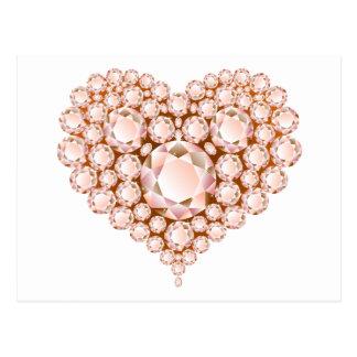 Peach Heart Gems Postcard