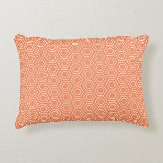 Peach Hexagon Geometric Accent Pillow