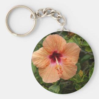 Peach Hibiscus Basic Round Button Keychain