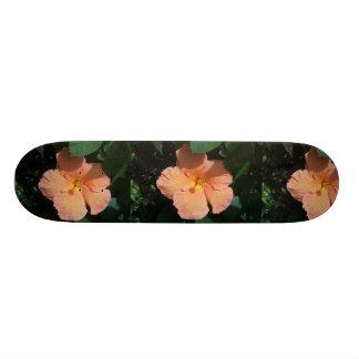 Peach Hibiscus Flower Skateboard