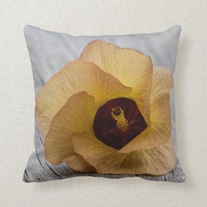 Peach Hibiscus Flower Throw Pillows