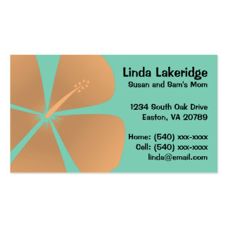Peach Hibiscus Flowers Mommy Contact Card