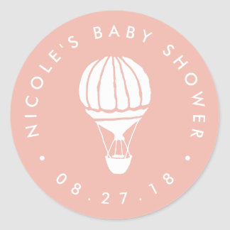 Peach Hot Air Balloon Baby Shower Classic Round Sticker
