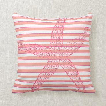 Beach Themed Peach Hot Pink White Stripe Starfish Throw Pillow