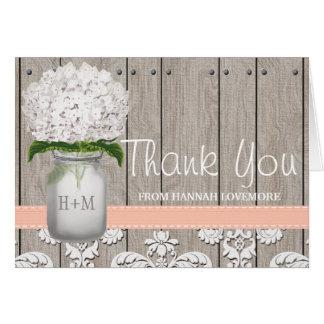 Peach Hydrangea Monogrammed Mason Jar THANK YOU Stationery Note Card