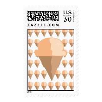 Peach Ice Cream Cone Postage