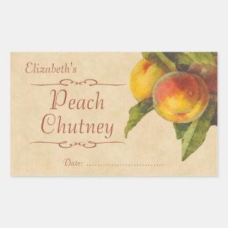 Peach jam or canning rectangular sticker