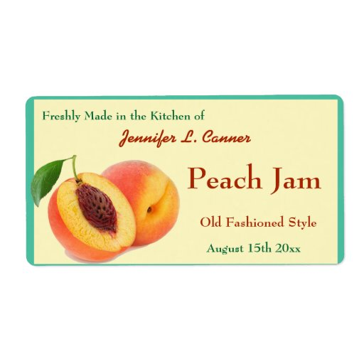 Peach Jam or Preserves Canning Jar Custom Shipping Label