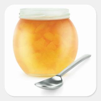 Peach jam square sticker