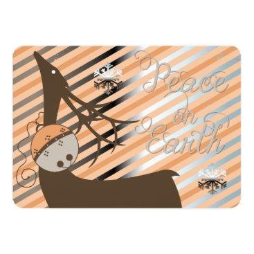 Christmas Themed Peach Jingle Bells Stripe Deer Christmas Card