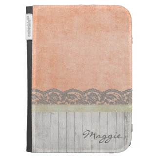 Peach Lace Aged Wood Personalized Kindle Case