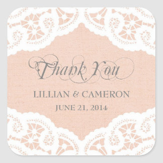 Peach Lace Doily Thank You Name Stickers