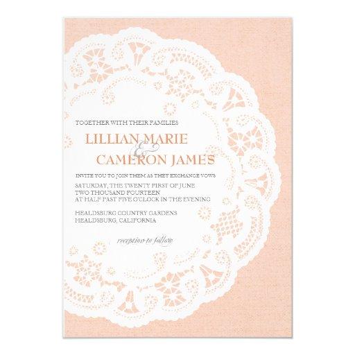 Peach Lace Doily Wedding Invitation