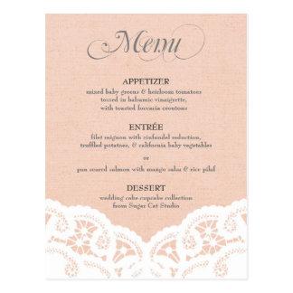 Peach Lace Doily Wedding Menu Postcard