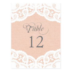Peach Lace Doily Wedding Table Number Table Cards at Zazzle