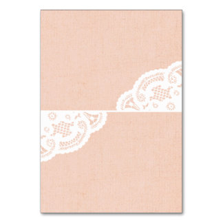 Peach Lace Doily Wedding Table Place Cards