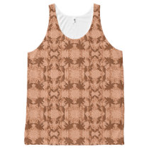 Peach Lace Floral Pattern Tank Top