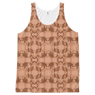 Peach Lace Floral Pattern Tank Top All-Over Print Tank Top