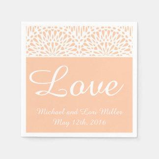 Peach Lace Love Wedding Paper Napkins