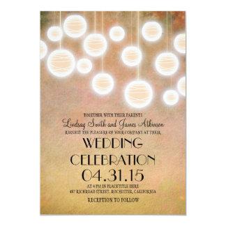 Peach lanterns vintage wedding invitation
