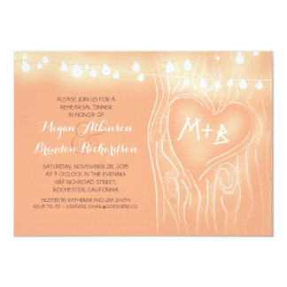 "peach lights tree romantic rehearsal dinner 5"" x 7"" invitation card"