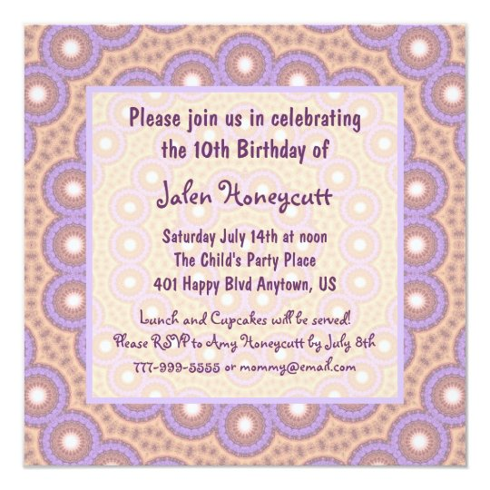 Peach & Lilac Circles Birthday Party Invitation