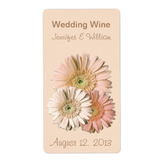 Peach Linen Gerber Daisies Wedding Mini Wine Label Shipping Label