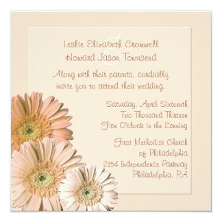 "Peach Linen Gerber Daisy Custom Wedding Invitation 5.25"" Square Invitation Card"