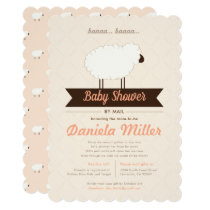 Peach Little Lamb Baby Shower by Mail Invitation