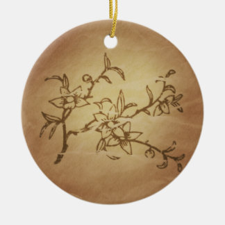 Peach Long Life Fame Chinese Magic Charms Ceramic Ornament