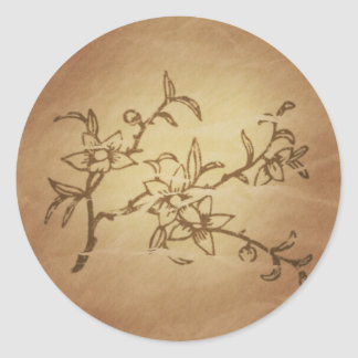Peach Long Life Fame Chinese Magic Charms Classic Round Sticker