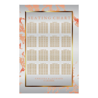 Peach Marble, Gold and White Satin - Seating Chart